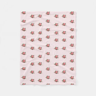 Pink Stripes and Roses Fleece Blanket