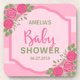Pink Stripes and Roses Girl Baby Shower Drink Coasters