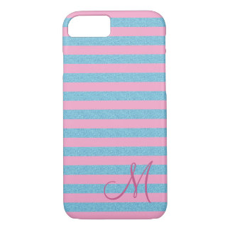 Pink stripes and sky blue glitter stripes monogram iPhone 8/7 case