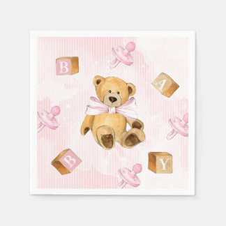 Pink Stripes and Teddy Bears Baby Shower Disposable Napkin