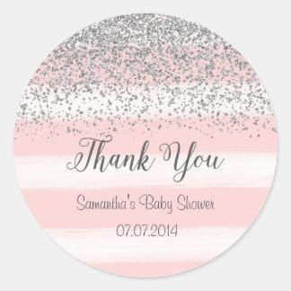 Pink Stripes Baby Shower Sticker