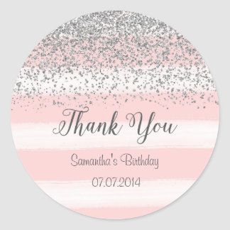 Pink Stripes Birthday Sticker