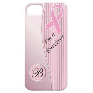 Pink Stripes Breast Cancer Survivor | DIY Monogram Barely There iPhone 5 Case