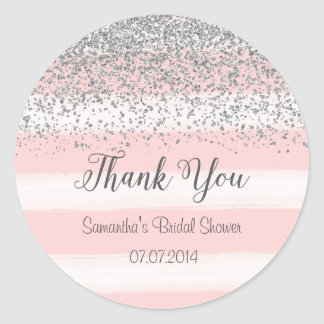 Pink Stripes Bridal Shower Sticker