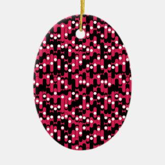 Pink Stripes Ceramic Oval Decoration