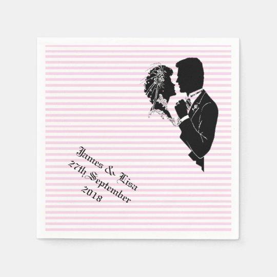 PINK STRIPES COUPLE WEDDING RECEPTION NAPKINS DISPOSABLE