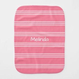 Pink Stripes custom monogram burp cloth