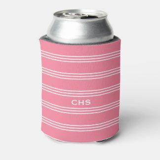 Pink Stripes custom monogram can cooler