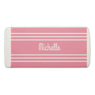 Pink Stripes custom monogram eraser