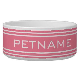Pink Stripes custom monogram pet bowls