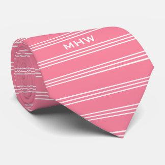 Pink Stripes custom monogram tie