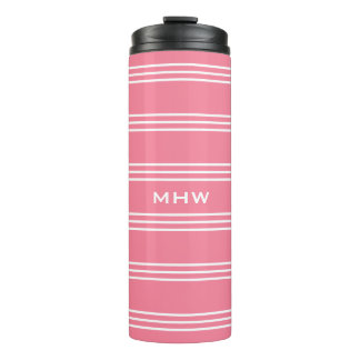 Pink Stripes custom monogram tumbler