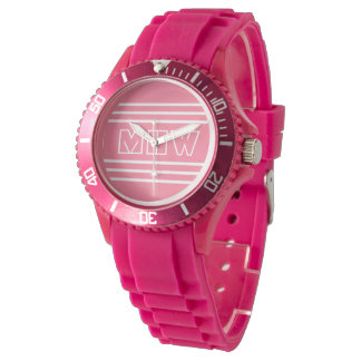 Pink Stripes custom monogram watches