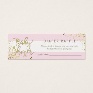 Pink Stripes Diaper Raffle Gold Script & Confetti Mini Business Card