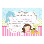Pink Stripes, Dolphin and Mermaid Birthday Party Personalised Invitation