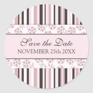 Pink Stripes Floral Save the Date Envelope Seal Round Sticker