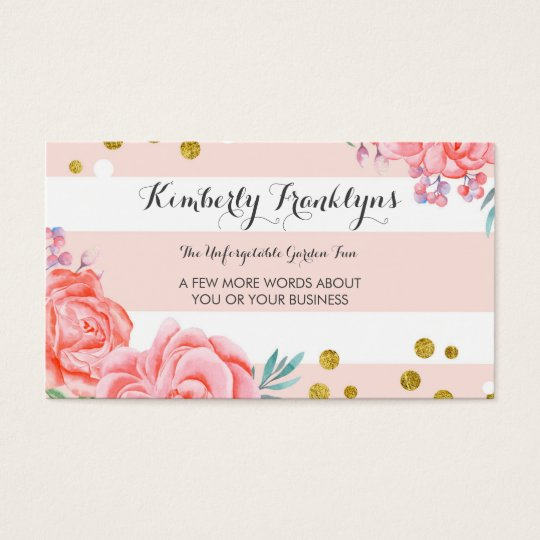 Pink stripes flowers gold confetti watercolor business card