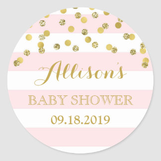 Pink Stripes Gold Confetti Baby Shower Favor Tag