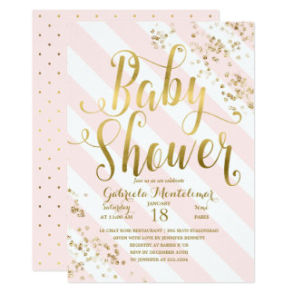 Pink Stripes Gold Glitter Confetti Baby Shower Card