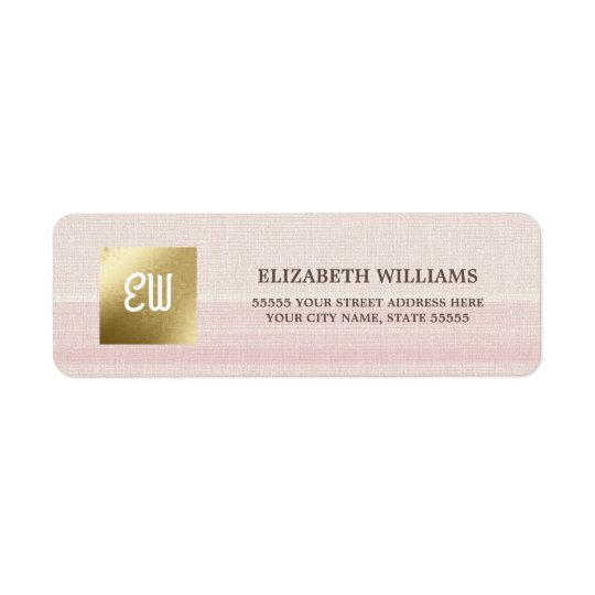 Pink Stripes | Gold Return Address Labels