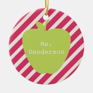 Pink Stripes & Green Apple Teacher Christmas Ornament