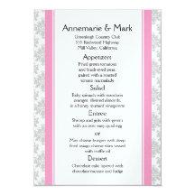Pink Stripes Grey Damask Wedding Menu 11 Cm X 16 Cm Invitation Card