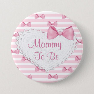 Pink Stripes Lace & Bows  Baby Shower button