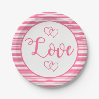 Pink Stripes Love Wedding Party Bridal Shower Paper Plate