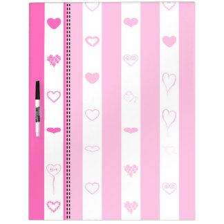 Pink Stripes Modern Heart Pattern Dry Erase Board