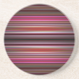 Pink stripes pattern beverage coasters