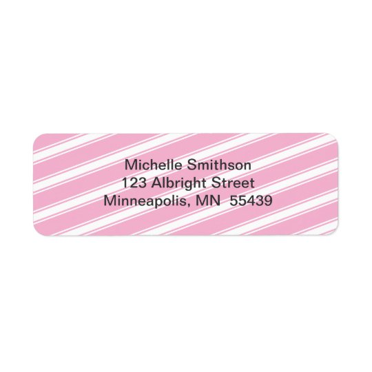 Pink Stripes Pattern Return Address Label Custom
