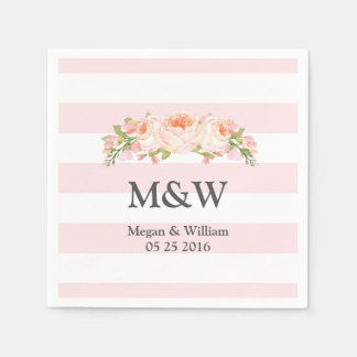 Pink Stripes Peach Floral Wedding Napkin Paper Serviettes