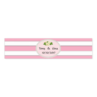 Pink Stripes, Pearls & Rose  Wedding Napkin Bands