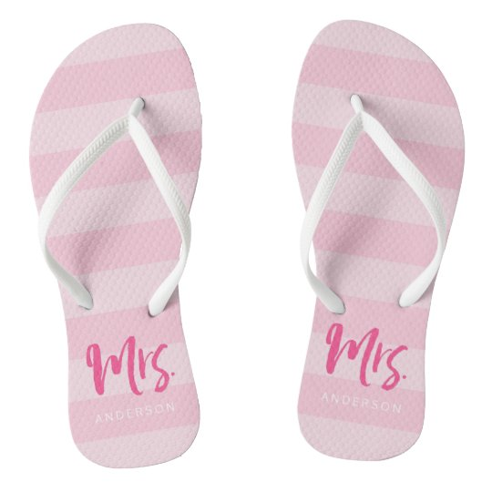 Pink Stripes Personalise with Name Mrs Flip Flops