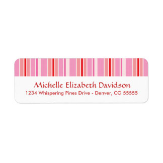 Pink Stripes Personalized Return Address Labels