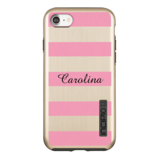 Pink Stripes, Personalized with Name Incipio DualPro Shine iPhone 8/7 Case