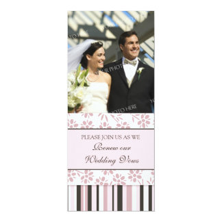 Pink Stripes Photo Wedding Vow Renewal Invitation