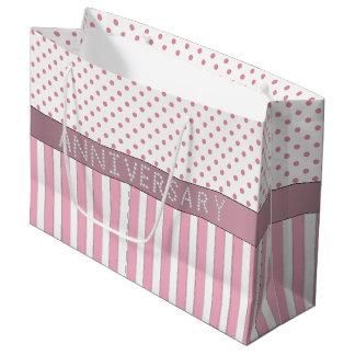 Pink Stripes/Polka Dots Diamond Anniversary LG Large Gift Bag