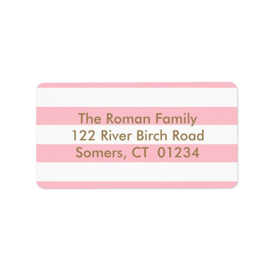 Pink Stripes Return Address, Gold letters Address Label