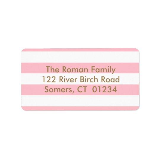Pink Stripes Return Address, Gold letters Label