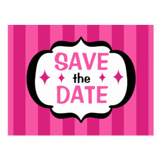 Pink Stripes Save the Date Postcard