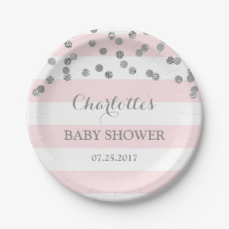 Pink Stripes Silver Confetti Baby Shower Plate