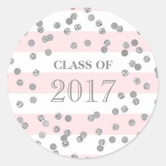 Pink Stripes Silver Confetti Grad Class 2017 Classic Round Sticker