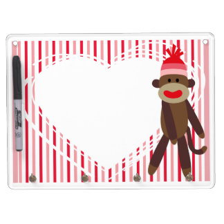 Pink Stripes Sock Monkey Dry Erase Board