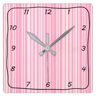 Pink Stripes Square Clock