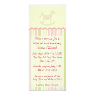 "Pink Stripes Tall Baby Shower Invitation 4"" X 9.25"" Invitation Card"