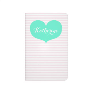 Pink stripes & teal heart - Personalized Journal