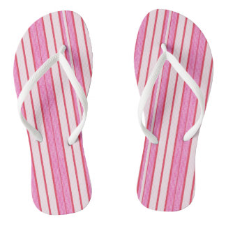 Pink Stripes Texture Pattern Flip Flops