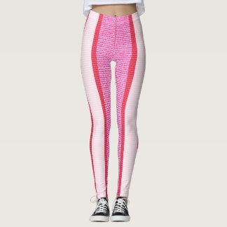 Pink Stripes Texture Pattern Leggings