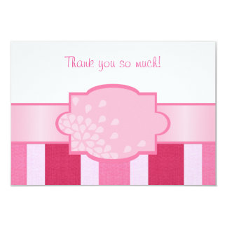 Pink Stripes Thank You Card
